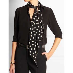 Saint Laurent silk crepe polka dot scarf
